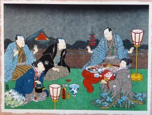 Toyokuni, Reunión de personajes con paisaje de Kinsyu al fondo, Xilografía original color, edición de 298 ejemplares, 38x51 cms. (1)