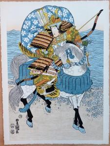 Toyokuni, Samurai, Xilografía original color, edición de 298 ejemplares, 51x38 cms. (15)