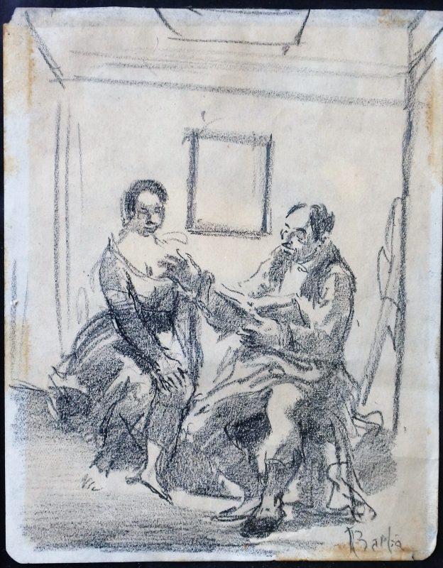 """Juan Barba – """"La lectura"""" dibujo lápiz papel, enmarcado – El Marco ..."""
