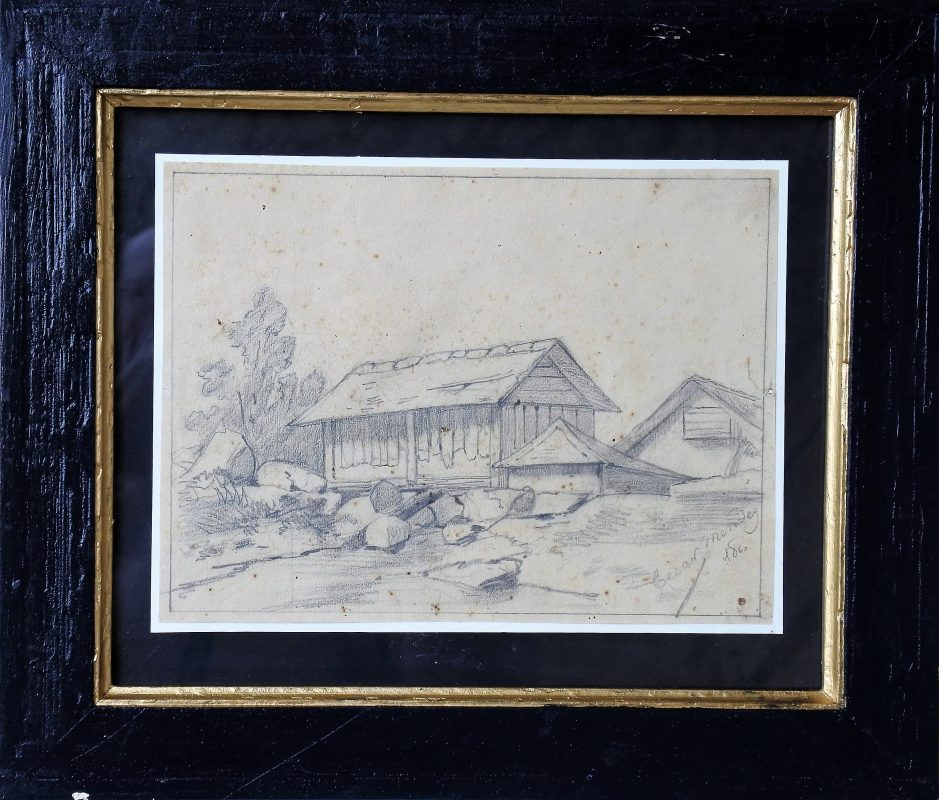 """Cesar Mendez – """"Casas en el campo"""" dibujo lápiz papel datado 1860 ..."""
