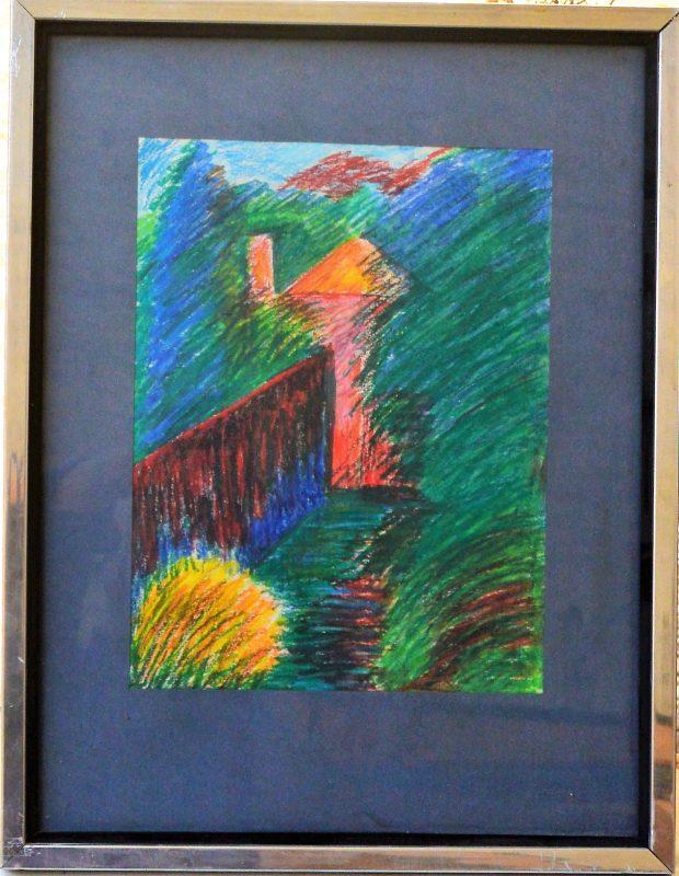"""Anónimo – """"Casa en el bosque"""" dibujo ceras papel, enmarcado – El ..."""
