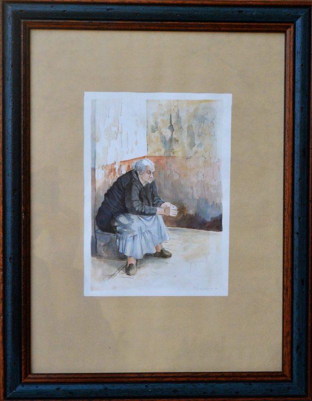 """Roberto L. Pizarro – """"Abuela sentada"""" dibujo acuarela papel ..."""