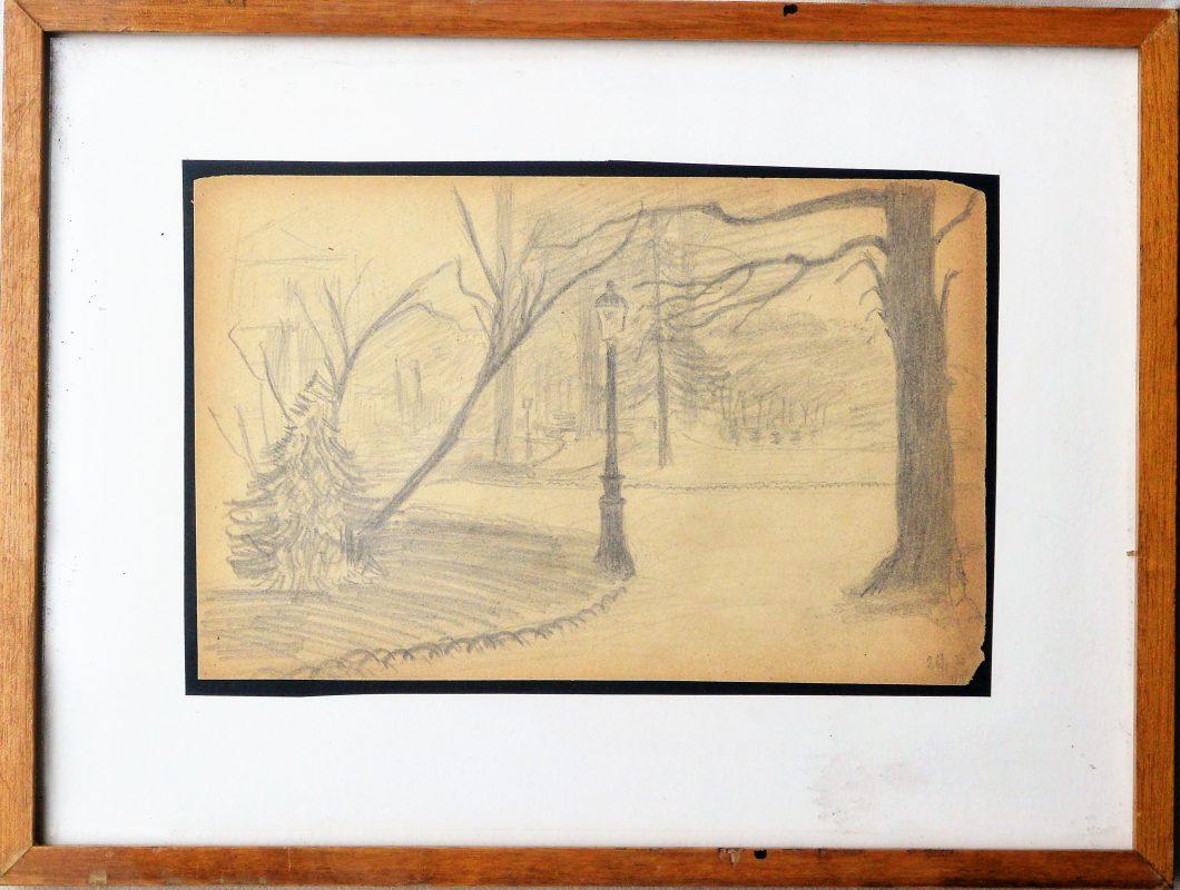 """Anónimo – """"Paisaje del parque"""" dibujo lápiz papel principios siglo ..."""