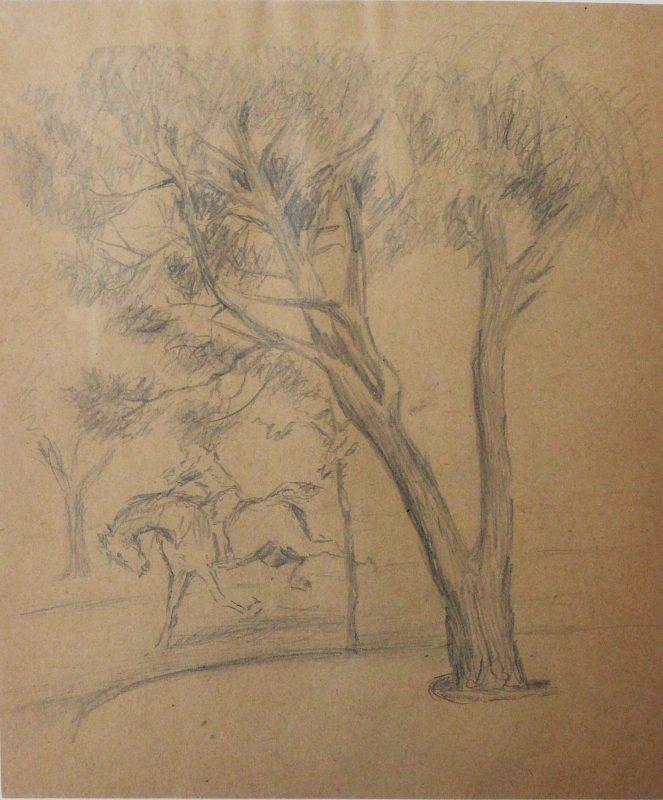 "Anónimo – ""Paseo a caballo"" dibujo lápiz papel, enmarcado – El Marco ..."