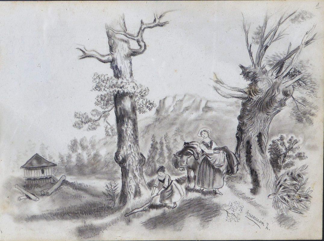 «Campesinas En Paisaje» Dibujo Lápiz