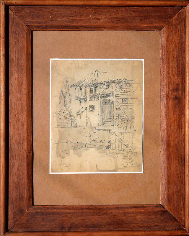 "C. Cabañas – ""Casa de labranza"" dibujo tinta plumilla papel, firmado ..."