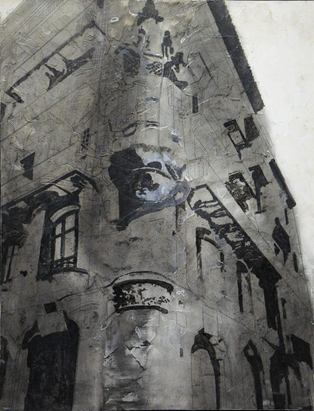 "Jorge Castillo 2007 – ""Vieja fachada en la Barcelona oscura"" pintura ..."