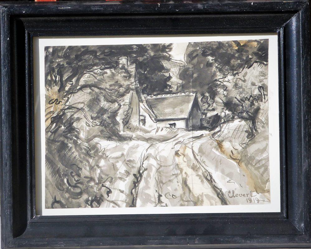 """Clovert – """"La casa en el bosque"""" dibujo tinta y aguada papel ..."""