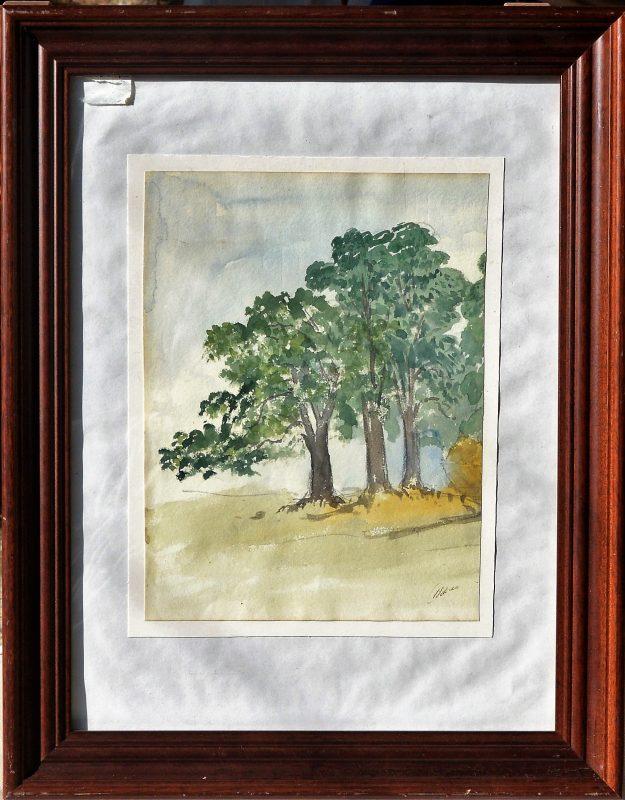 """Ilegible – """"Paisaje con tres árboles"""" dibujo acuarela papel ..."""