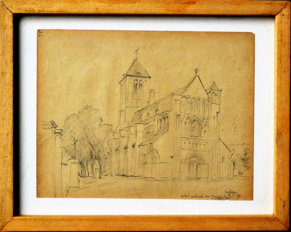 "Ilegible francés – ""Iglesia restaurada"" dibujo lápiz papel, finales ..."