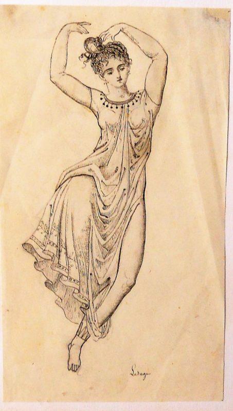 Augustin Lesage Bailarina Oriental Dibujo Lapiz Papel Enmarcado
