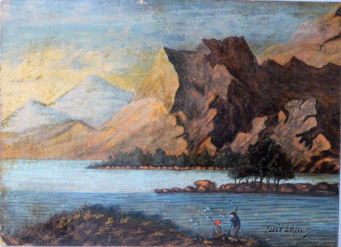 """""""Paisaje De Montaña Con Lago"""" Pintura"""