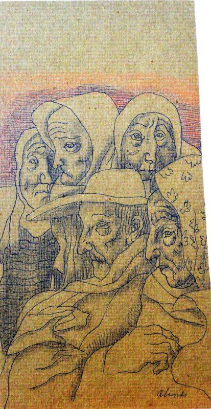 """Manuel Alcorlo – """"Abuelos"""" dibujo tinta papel, enmarcado – El Marco ..."""