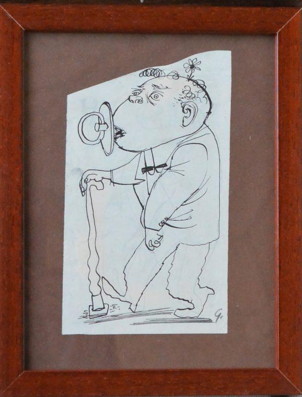 "Lorenzo Goñi – ""Regreso a la infancia"" dibujo tinta papel, enmarcado ..."