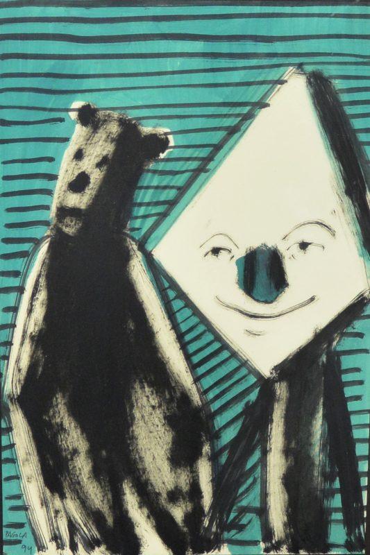 """Javier Pagola 1994 – """"Simpatizando"""" dibujo acrílico papel, enmarcado ..."""