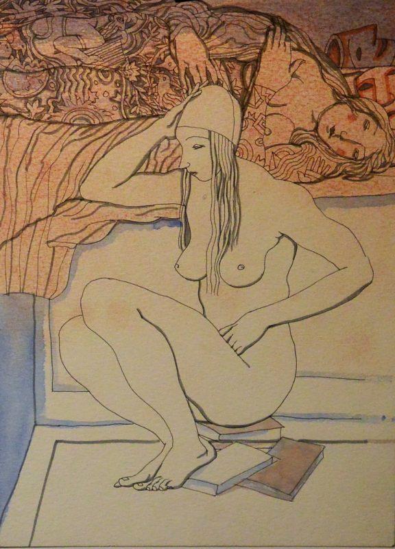 """Manuel Alcorlo – """"Joven desnuda sentada en los libros"""" dibujo ..."""