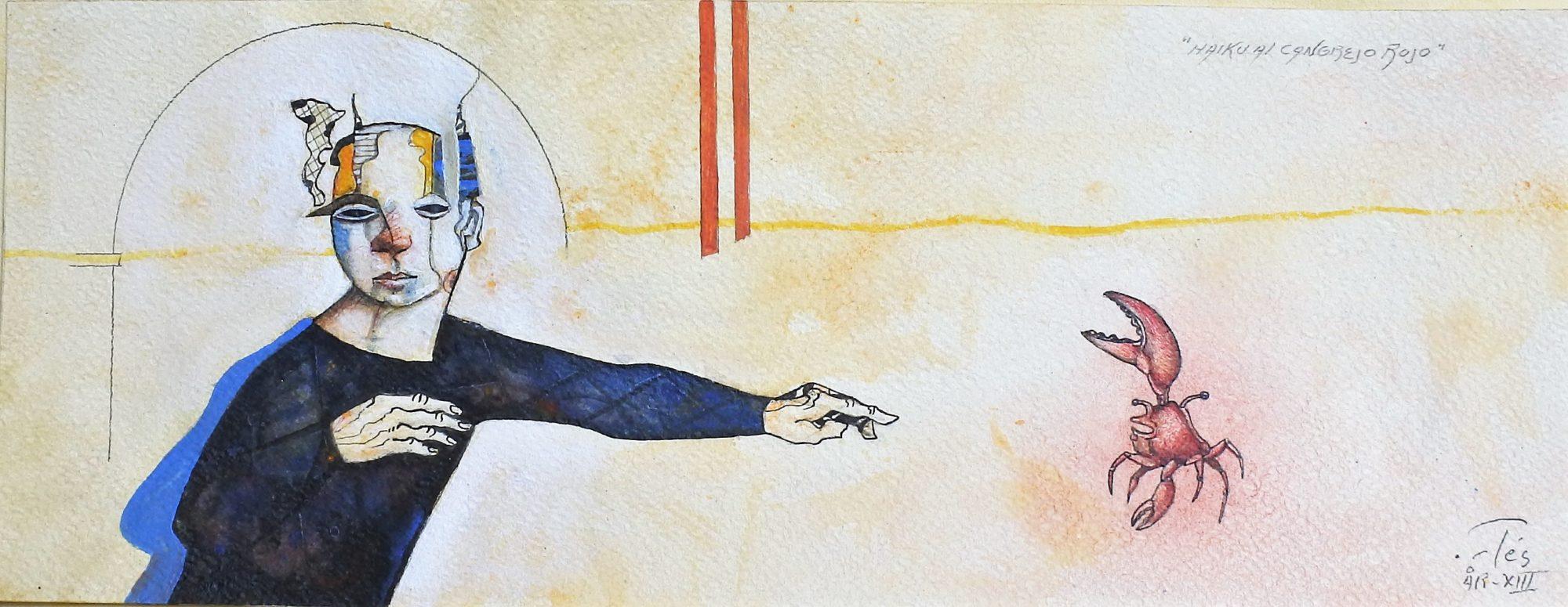 """Luis V. Ortés – """"Haiku al cangrejo rojo"""" dibujo técnica mixta papel ..."""