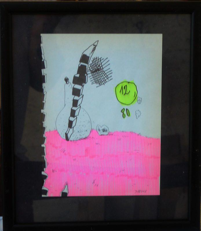 """Javier Pagola – """"Globo 12"""" dibujo tinta y acuarela papel, enmarcado ..."""