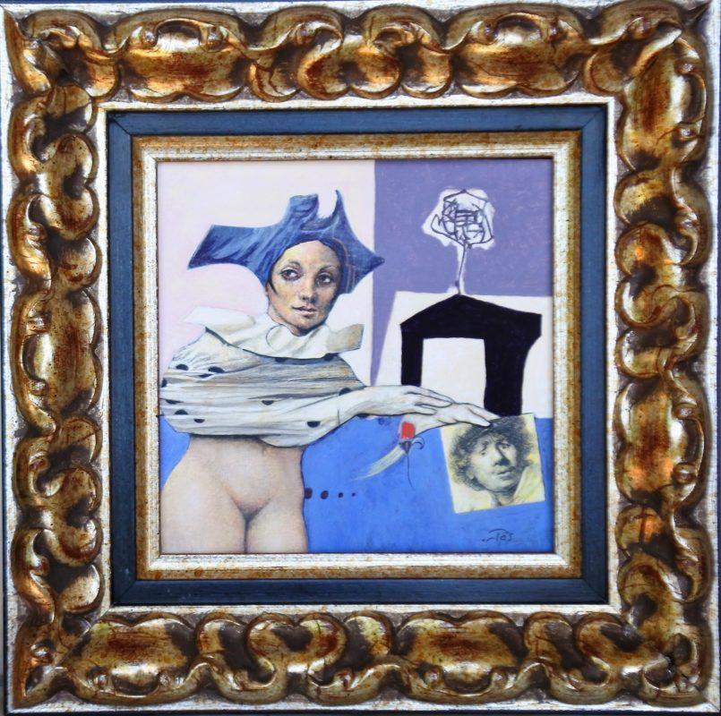 """Luis V. Ortés – """"Musa"""" pintura acrílico y collage sobre lienzo ..."""