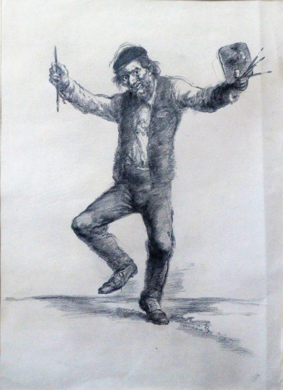 "Juan Barba – ""Alegria del pintor"" dibujo carboncillo papel ..."