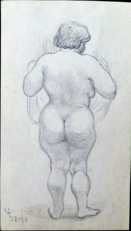 Juan Barba Mujer Ancha Desnuda De Espaldas Dibujo Lápiz Papel Enmarcado