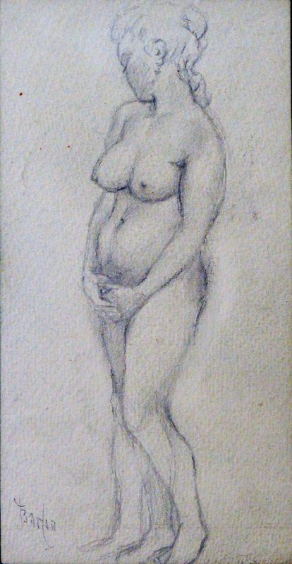 Juan Barba Mujer Desnuda Con Las Manos Entrelazadas Dibujo Lápiz Papel Enmarcado