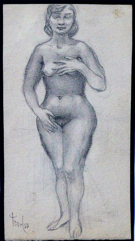 Juan Barba Mujer Desnuda Con Mano Izquierda En El Pecho Dibujo Lápiz Papel Enmarcado
