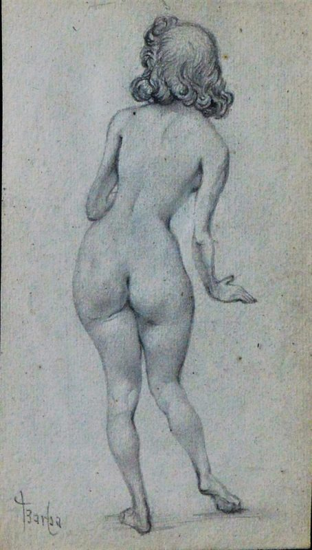 Juan Barba Mujer Desnuda De Espaldas Ladeada Dibujo Lápiz Papel Enmarcado