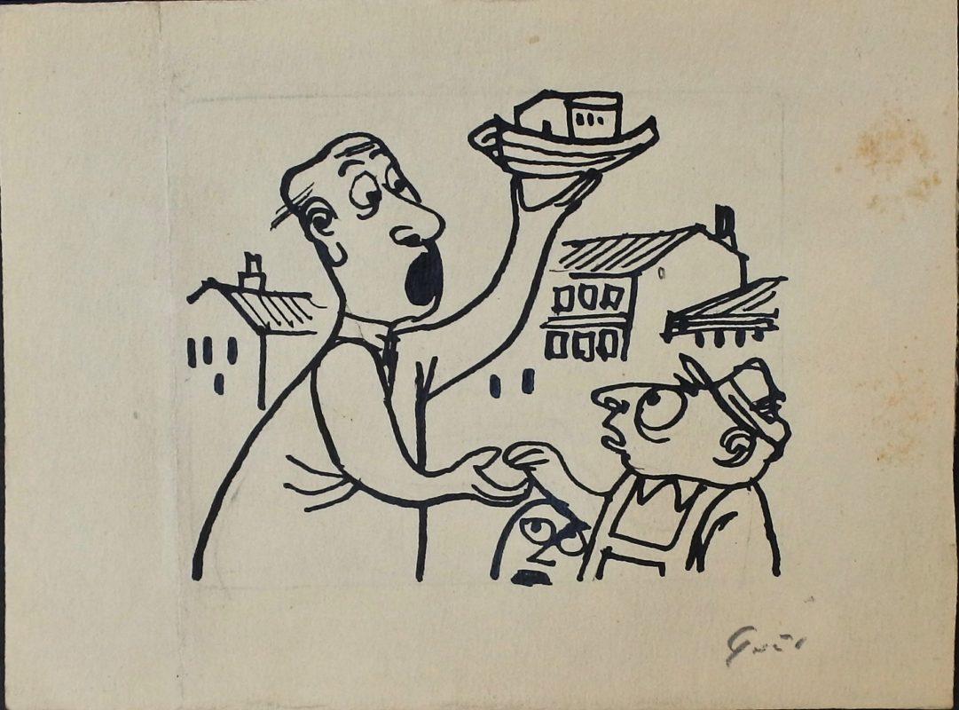 """Lorenzo Goñi – """"El fin del mundo"""" dibujo tinta papel, enmarcado – El ..."""