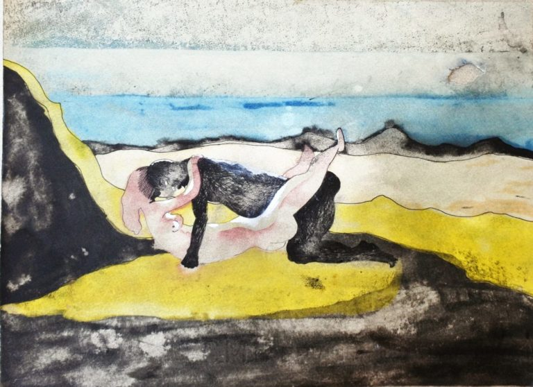 Castillo Jorge 1966, Pareja, dibujo gouashce, acuarela y tinta sobre papel, enmarcado, dibujo 24,50×33 cms. y marco 47,50×48 cms (17)
