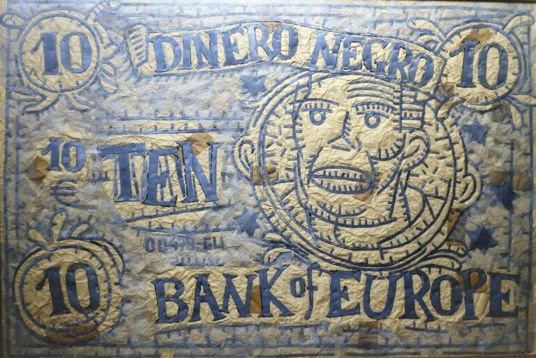 Bellver Fernando, Dinero negro, técnica mixta, plomo y collage, enmarcado, obra 91×140 cms. y marco 105×151 cms. (2)