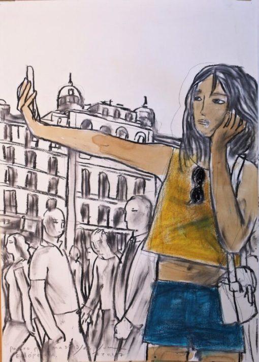 Javier de Juan, Paseo por Madrid, en Opera, dibujo original carboncillo y oleo en barra papel, 70×50 cms. (12)