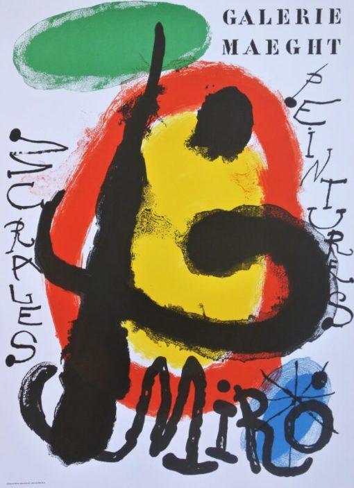 Miró Joan, Peintures Murales, cartel original exposición en la Galerie Adrien Maeght Paris en 1961, 67×49 cms. (4)