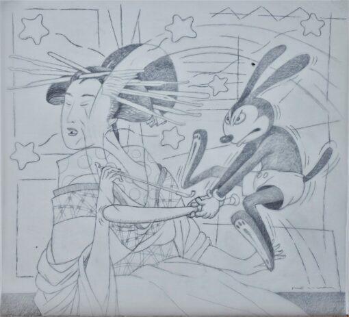 Bellver Fernando, Mickey-Utamaro, dibujo original grafitosobre acetato de papel, preparatorio para grabado, 49×54 cms.. (19)